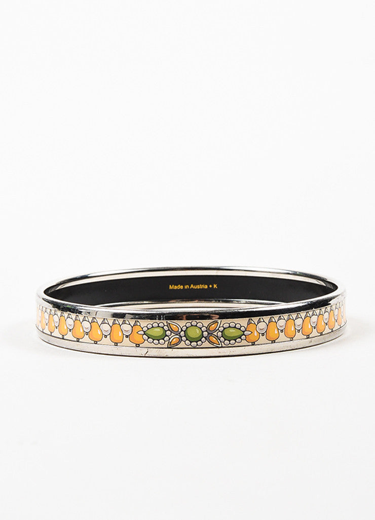 Hermes Silver Toned, Yellow, and Cream Enamel Printed Bangle Bracelet Frontview 2