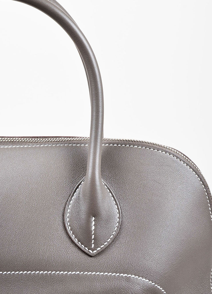 "Hermes 'Vert de Gris' Grey Barenia Leather ""Relax Bolide"" 40cm Tote Bag Detail 3"
