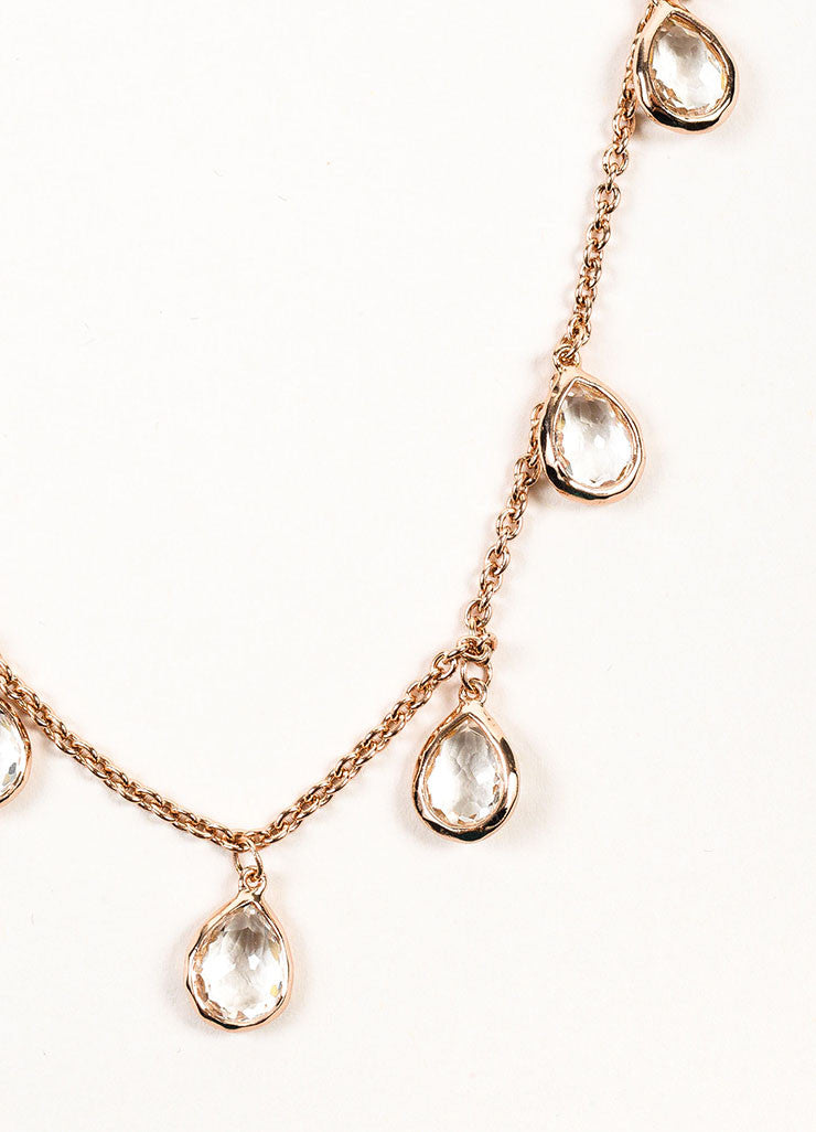 Ippolita Rose Gold Plated Sterling Silver Teardrop Clear Quartz Long Necklace