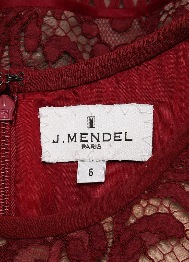 J. Mendel New With Tags Red Jasper Mixed Lace and Textured Crepe Sheath Dress Brand