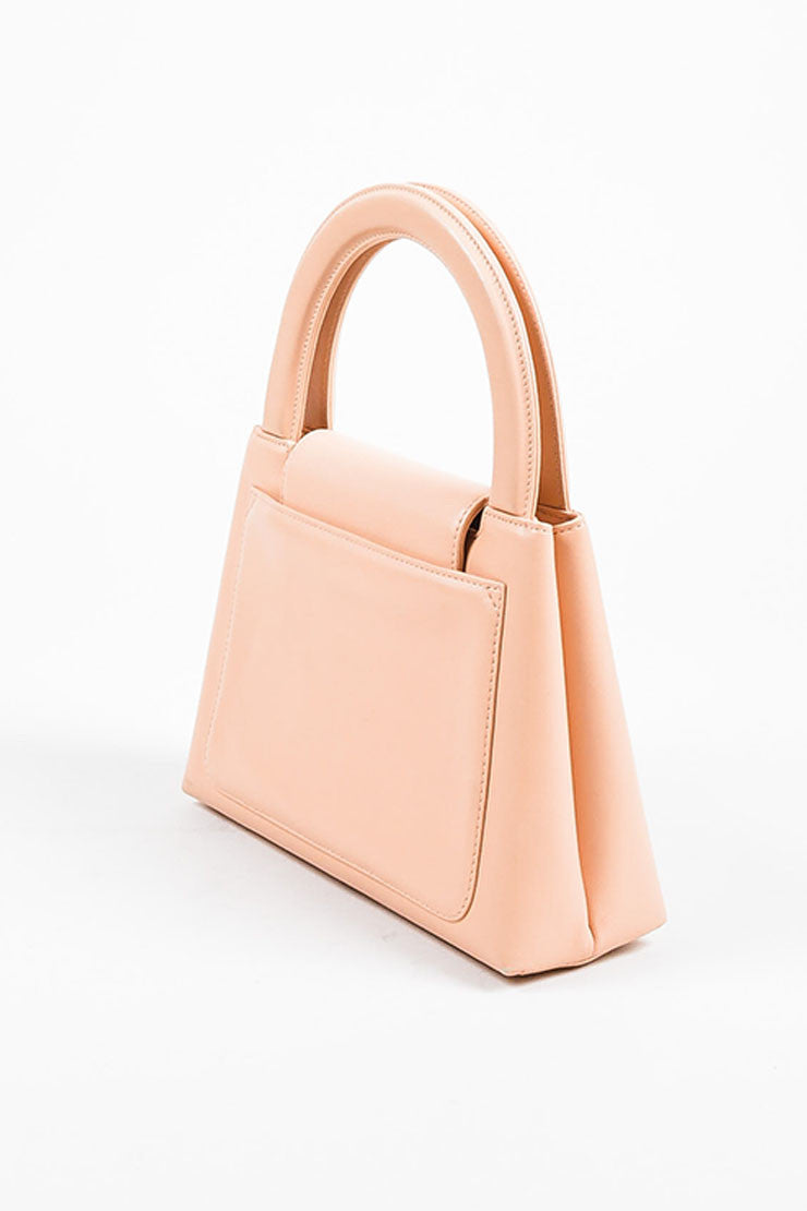 Pink Chanel Leather 'CC' Stand Handle Structured Bag Side