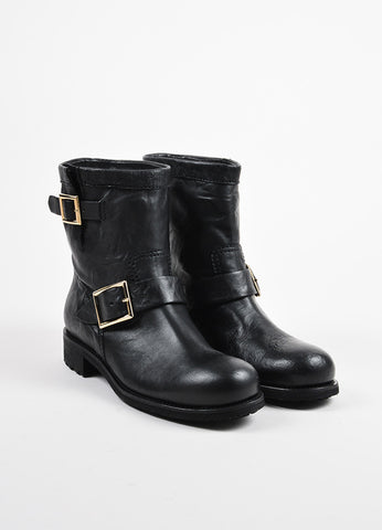"Jimmy Choo Black Leather Buckled Short ""Youth"" Biker Boots Frontview"