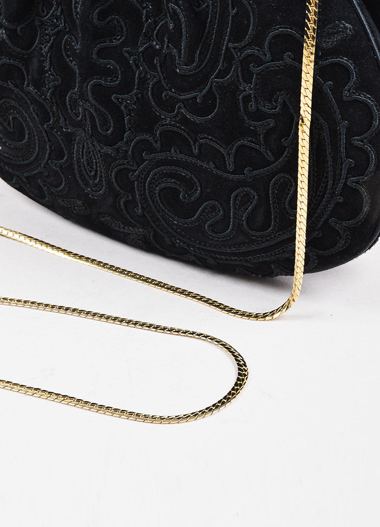 Judith Leiber Black Embroidered Suede Enamel Trim Chain Strap Bag Detail 3