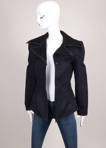 Karolina Zmarlak Navy and Black Wool Long Sleeve Pea Coat Frontview