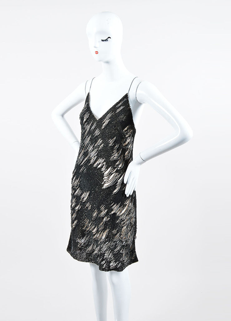 Dark Grey and Silver Sequin Beaded Sleeveless Kaufmanfranco Mini Dress Sideview