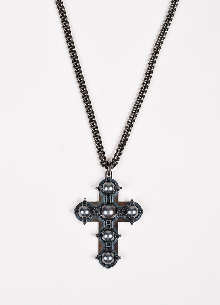 Lanvin Antiqued Silver Toned Black Faux Pearl Crystal Cross Necklace Front