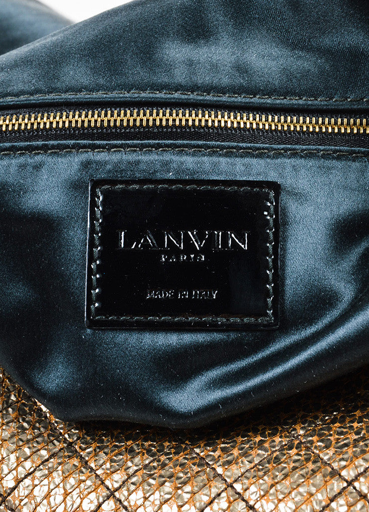 "Lanvin Gold and Black Embossed Chain Flap ""Happy Sac Partage"" Shoulder Bag Brand"