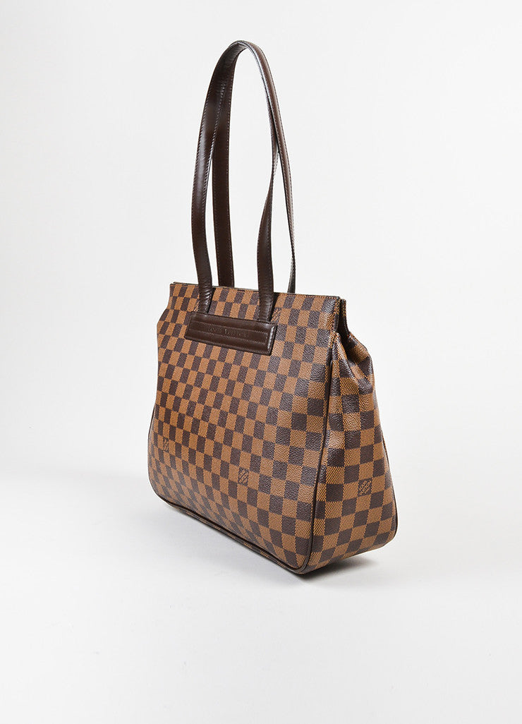 "Brown Louis Vuitton Coated Canvas Damier Print ""Paroli PM"" Shoulder Bag Sideview"