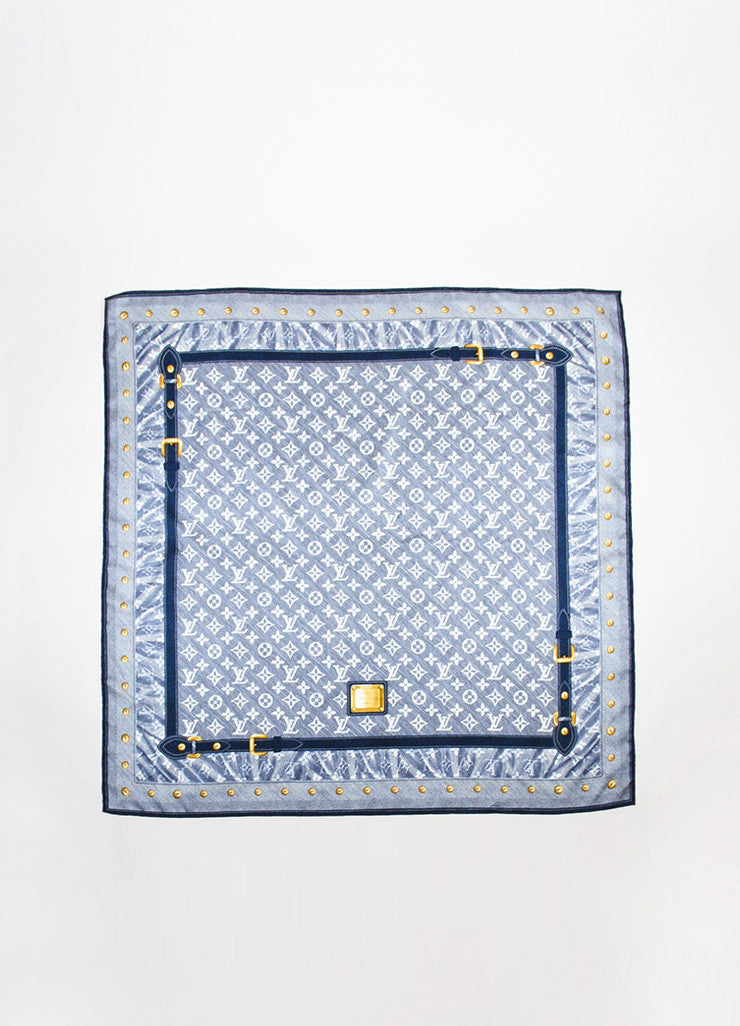 Louis Vuitton Blue and White Silk Monogram Belt Print Square Scarf Frontview 2