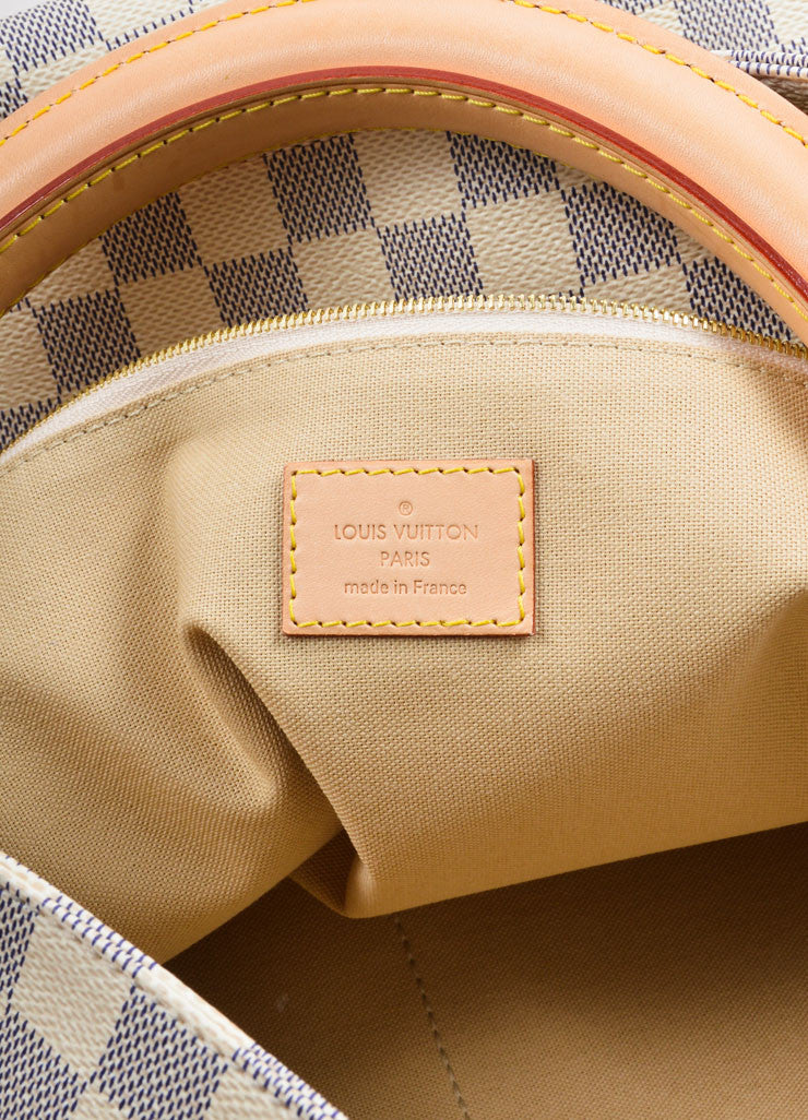 "Louis Vuitton Cream and Blue Coated Canvas Checkered ""Damier Azur Soffi""  Bag Brand"
