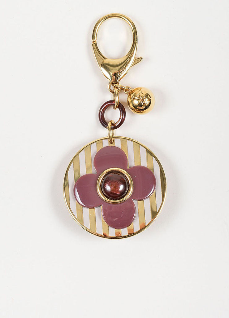 Gold Toned and Purple Enamel Louis Vuitton Striped Flower Keychain Bag Charm Frontview