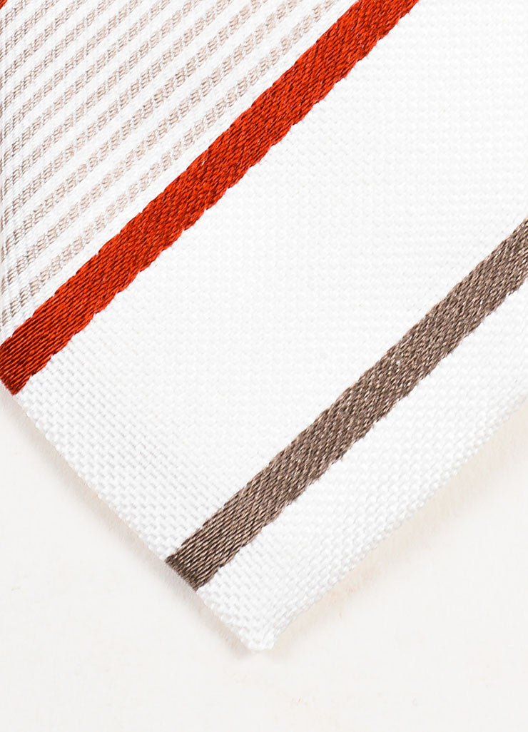 Men's Dolce & Gabbana Cream Grey Red Silk Striped Skinny Tie Detail 2