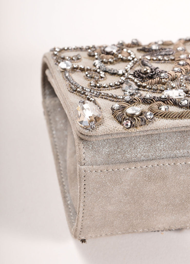 Marchesa Grey Suede Leather Metallic Embroidered Jeweled Clutch Bag Detail