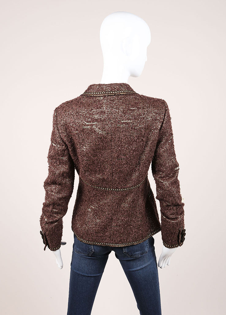 Moschino Cheap and Chic New With Tags Brown Metallic Gold Wool Boucle Blazer Backview