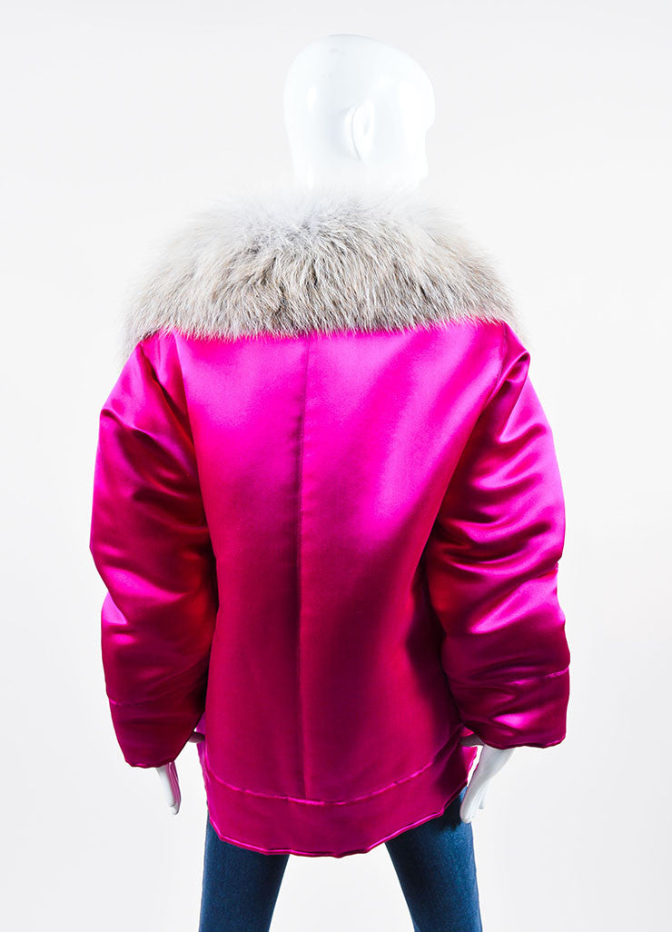 Magenta and White Oscar de la Renta Silk Fox Fur Collar Padded Winter Coat Backview