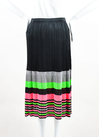 Pleats Please by Issey Miyake Black and Neon Striped Pleated A-Line Midi Skirt Frontview