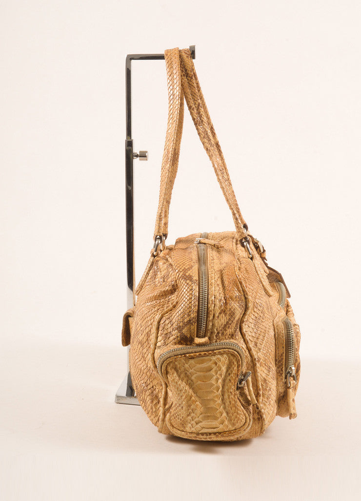 Prada Limited Edition Tan Python Leather Shoulder Bag Sideview