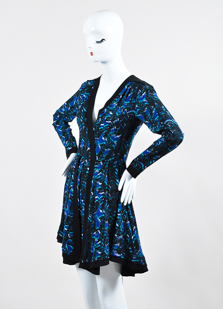 Black, Cobalt Blue, and Green Proenza Schouler Silk Printed Long Sleeve Pleated Dress Sideview