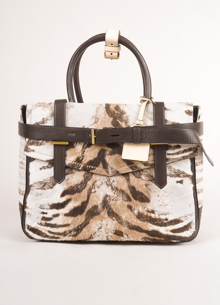 "Reed Krakoff Brown and Cream Animal Print Pony Hair and Leather ""Boxer"" Tote Bag Frontview"