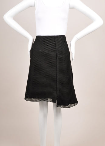 "Reed Krakoff New With Tags Black Knit Mesh Fishnet ""Honeycomb"" Skater Skirt Frontview"