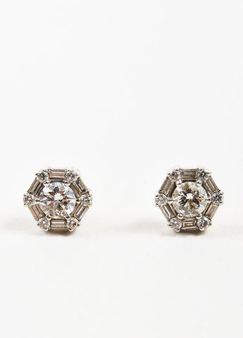 Roberto Coin 18K White Gold Diamond Hexagon Post Earrings Frontview