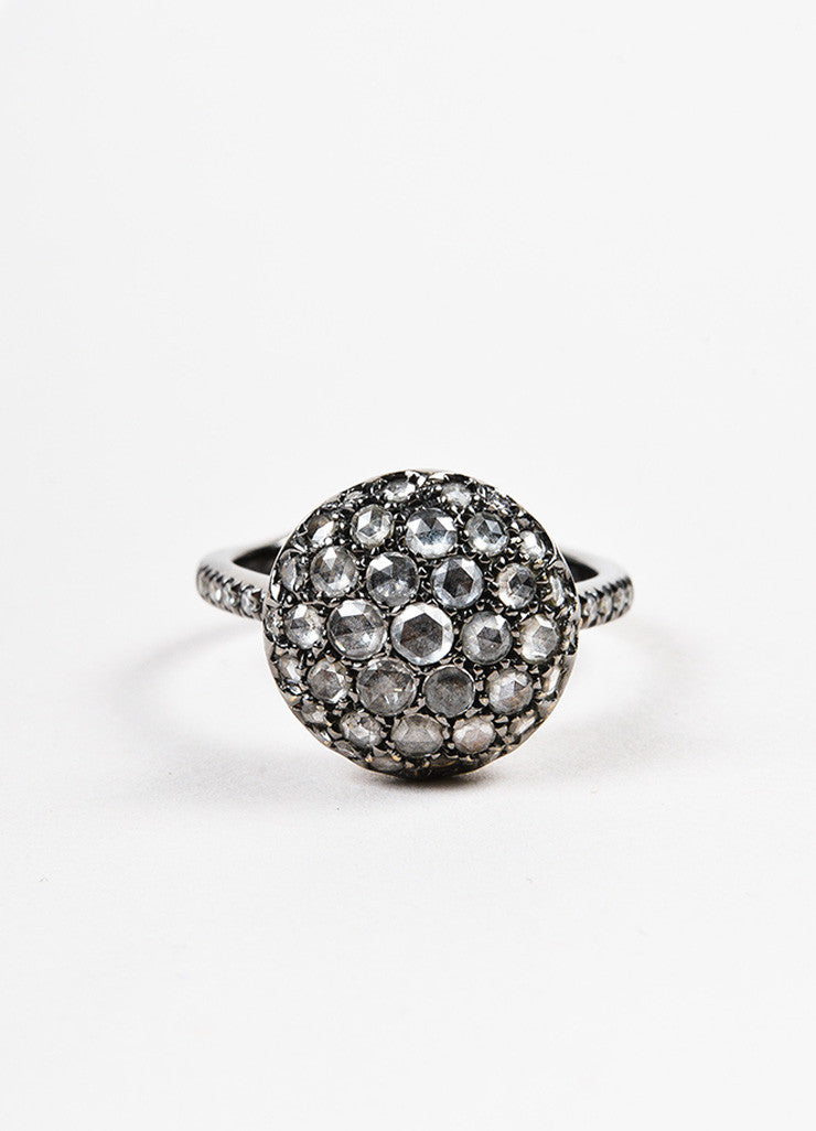 "Roberto Marroni 18K Oxidized White Gold and Diamond ""Baby Sand"" Cocktail Ring Frontview"