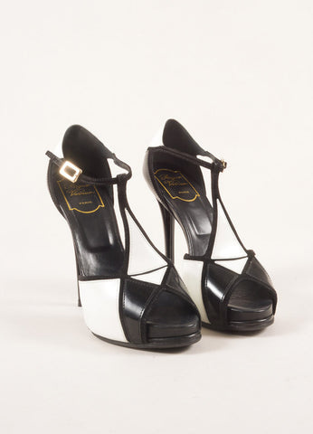 Roger Vivier Black and White Suede Patent Leather Colorblock T-Strap Pumps Frontview