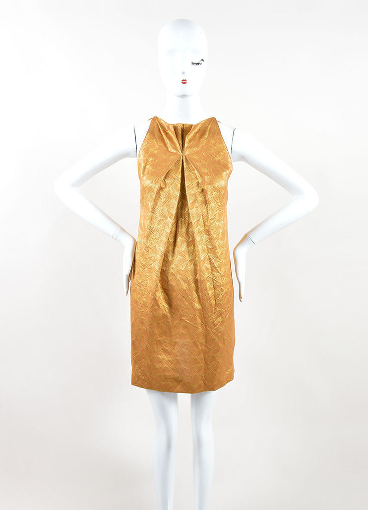 Roland Mouret Metallic Gold Silk Blend Geometric Sleeveless Mini Dress Frontview