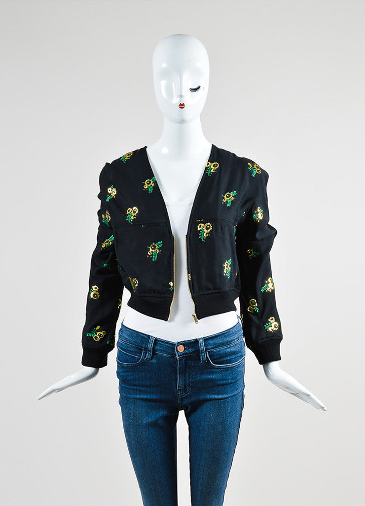 Black, Green, and Gold Stella McCartney Floral Crop Jacket Frontview