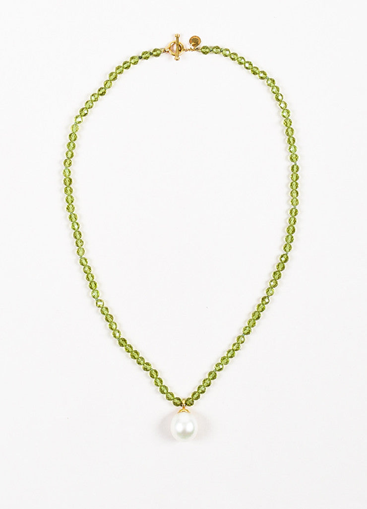 Tiffany & Co. Green 18K Yellow Gold Pearl Peridot Stone Pendant Necklace Frontview