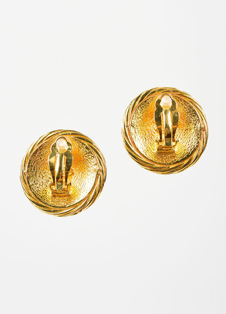 Gold Toned Chanel 'CC' Logo Circle Button Clip On Earrings Backview