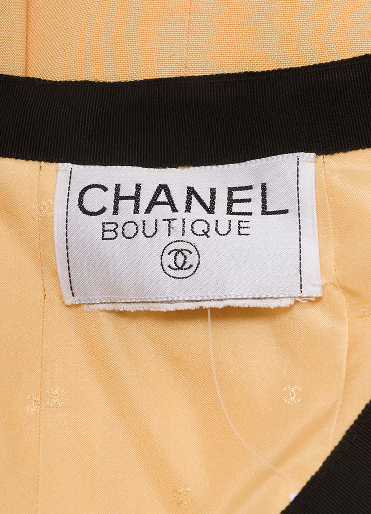 Chanel Black and Peach Ribbon Trim Four Pocket Buttoned Jacket Brand