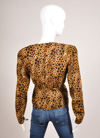 Emanuel Ungaro Leopard Print Tie Front Long Sleeve Top Backview