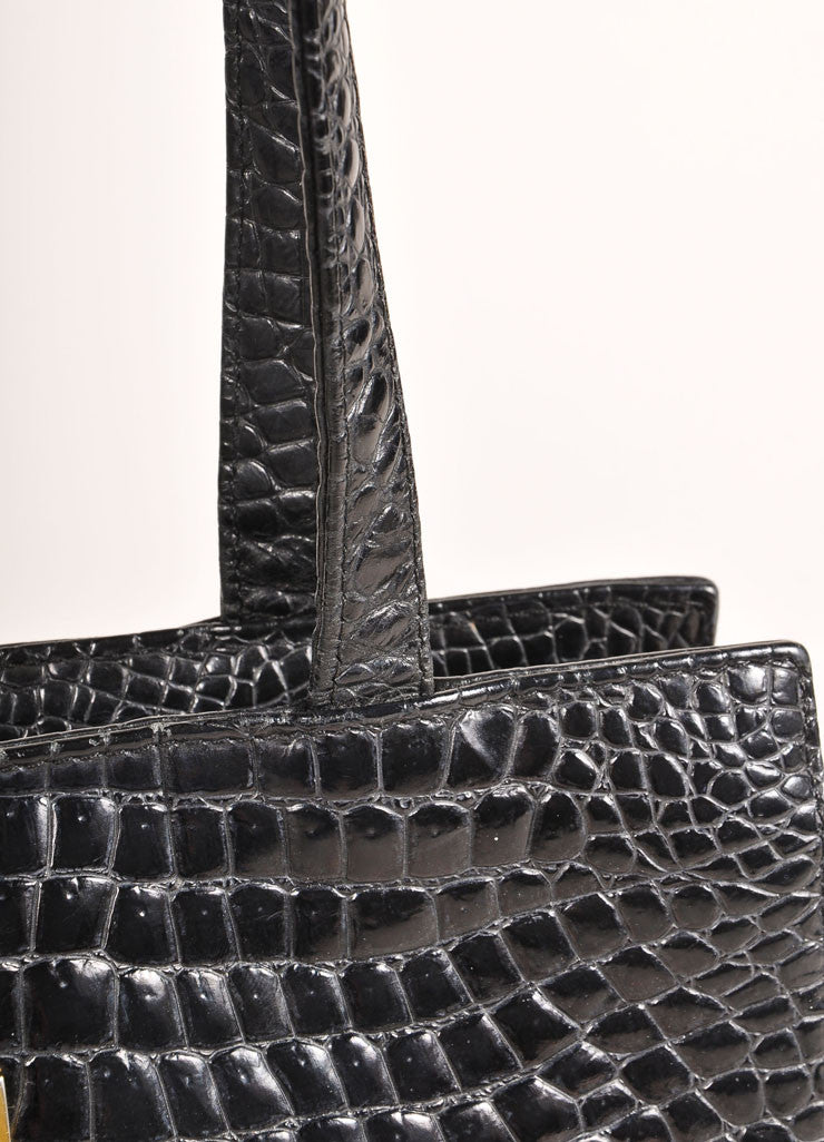 Gianni Versace Black Crocodile Embossed Leather Small Shoulder Bag Detail 2