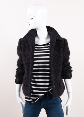 Zamasport for Gucci Black Mohair and Wool Boucle Knit Jacket Frontview