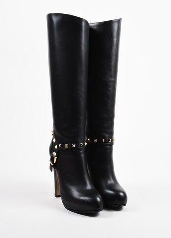"Black Valentino Leather ""Rockstud"" Platform Heel Knee High Boots Front"