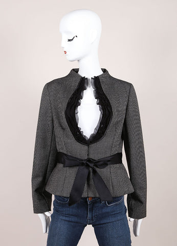 Valentino Black And White Wool Mohair Ruffle Trim Ribbon Belt Jacket Frontview