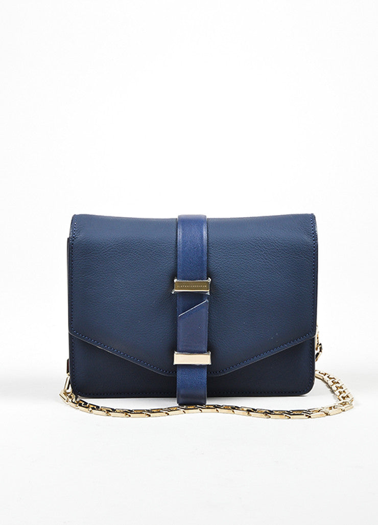 Navy Blue Victoria Beckham Leather Mini Chain Strap Satchel Bag Frontview