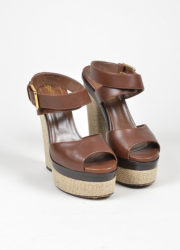 "Brown Yves Saint Laurent Leather and Linen Platform ""Flirty"" Sandals Frontview"