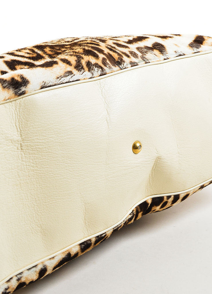 "Yves Saint Laurent Cream Leopard Print Pony Hair Leather ""Large Muse"" Bag Bottom View"
