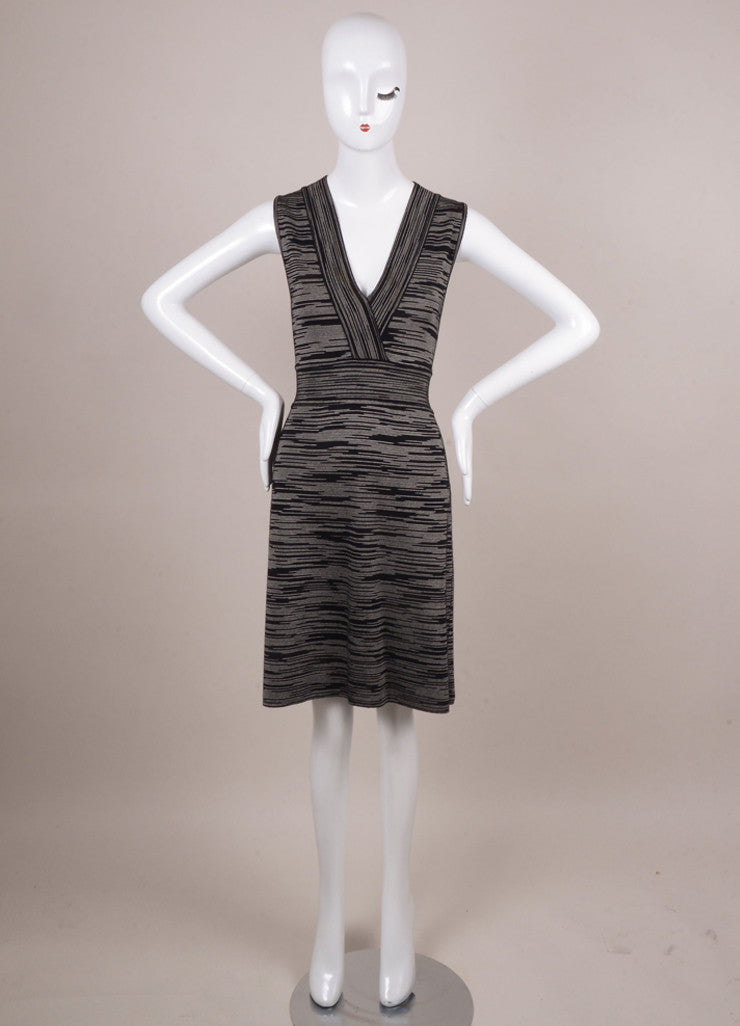 Black and White Spacedye V Neck Sleeveless Knit Dress