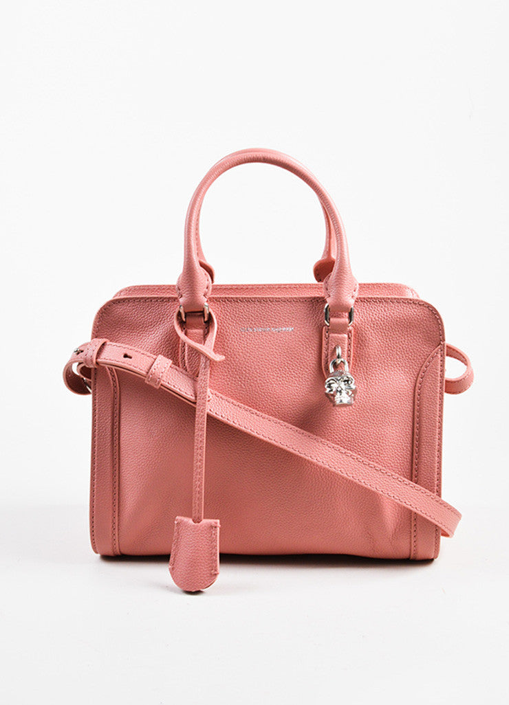 Pink Alexander McQueen Grained Leather Small Padlock Satchel Bag Front