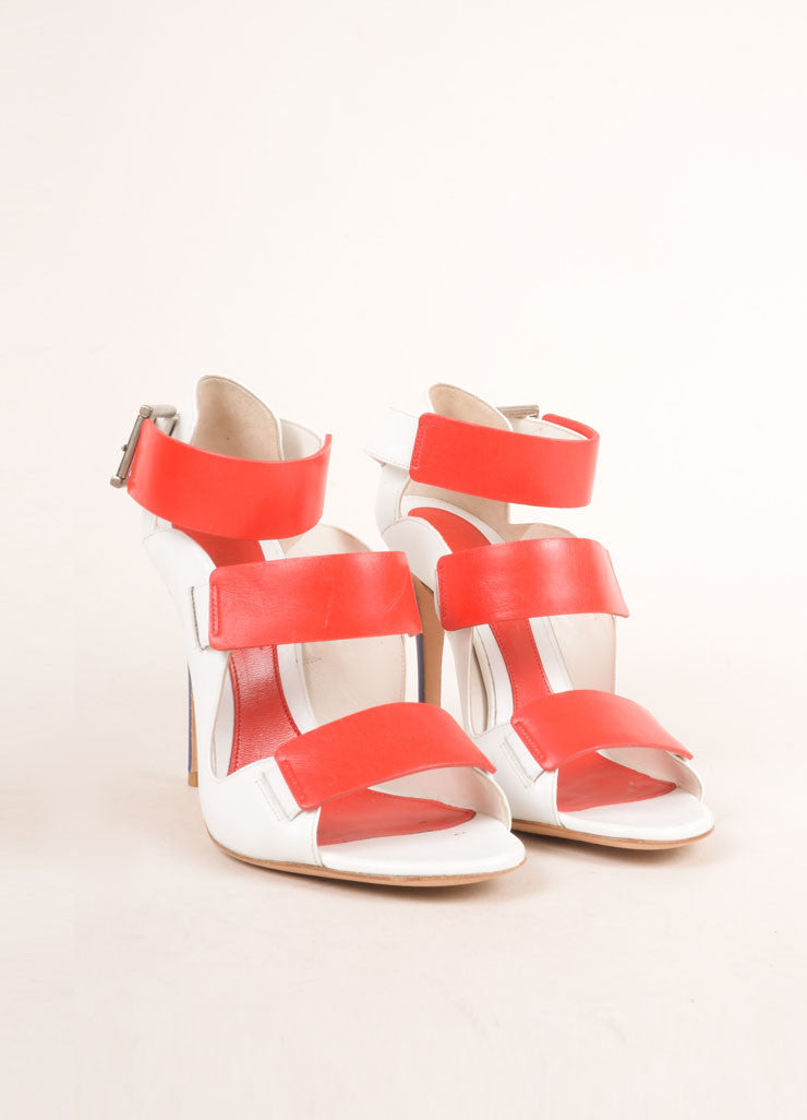Alexander McQueen White, Red, and Blue Leather Strappy Open Toe Pumps Frontview