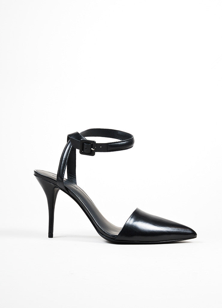 "Black Alexander Wang Leather Pointed Ankle Strap ""Lovisa"" Pumps Sideview"