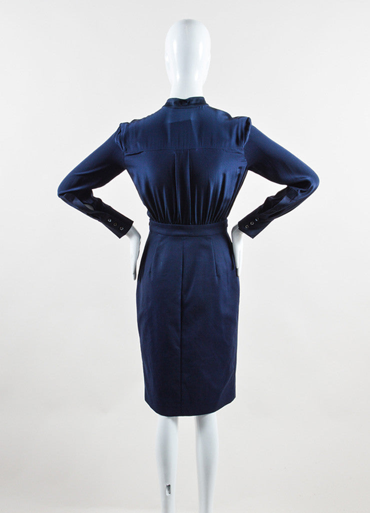 Altuzarra Navy Silk and Cotton Long Sleeve Button Up Sheath Dress Backview