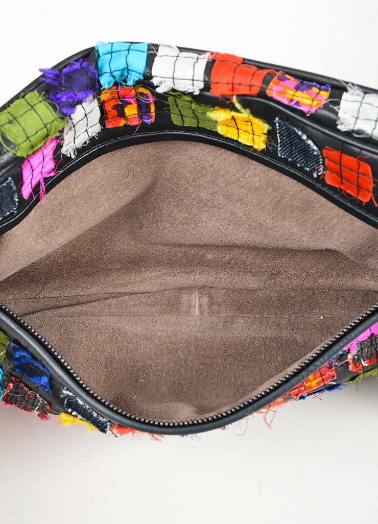 Black and Multicolor Bottega Veneta Patchwork Leather Oblong Zip Mirror Pull Clutch Interior