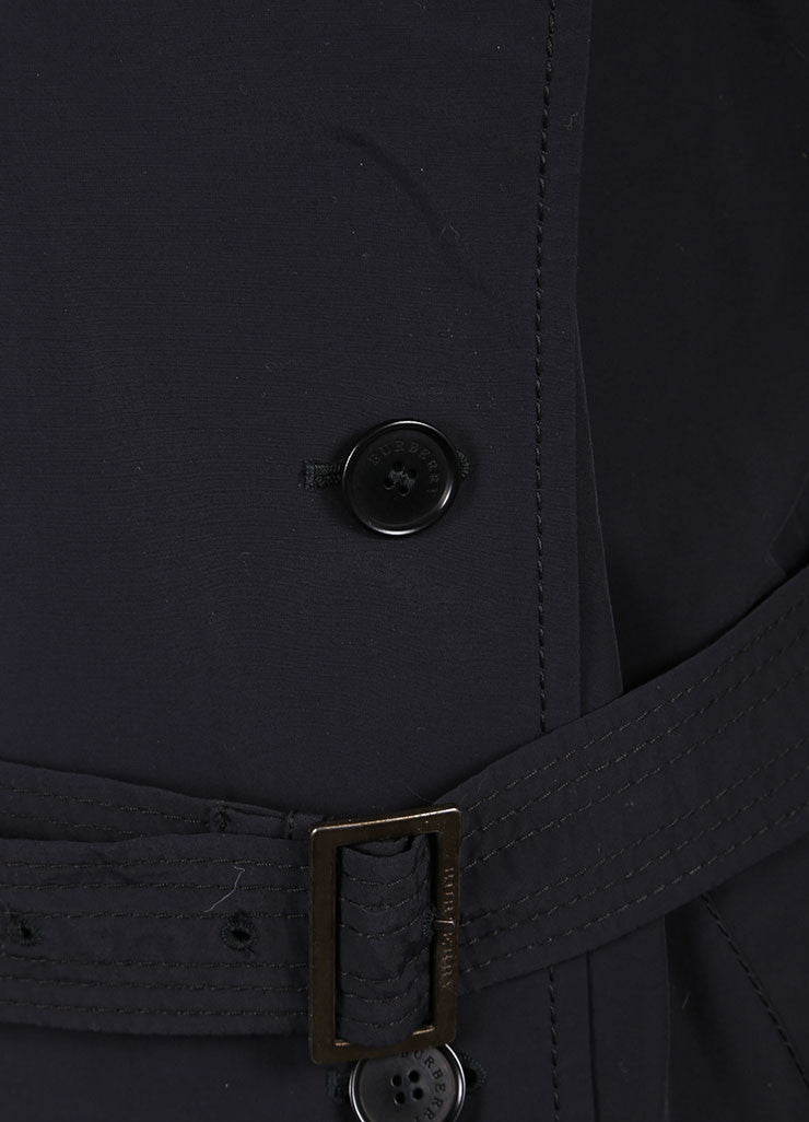 Burberry Black Long Lightweight Cotton Trench Coat  Detail