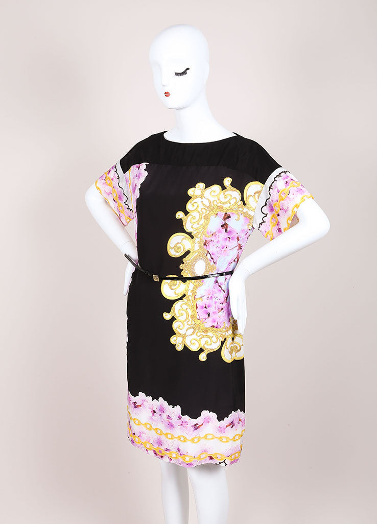CLASS Roberto Cavalli New With Tags Black and Purple Silk Floral Print Shift Dress Sideview