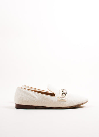 Celine Cream Pony Hair Chain Link Smoking Slipper Loafers Sideview