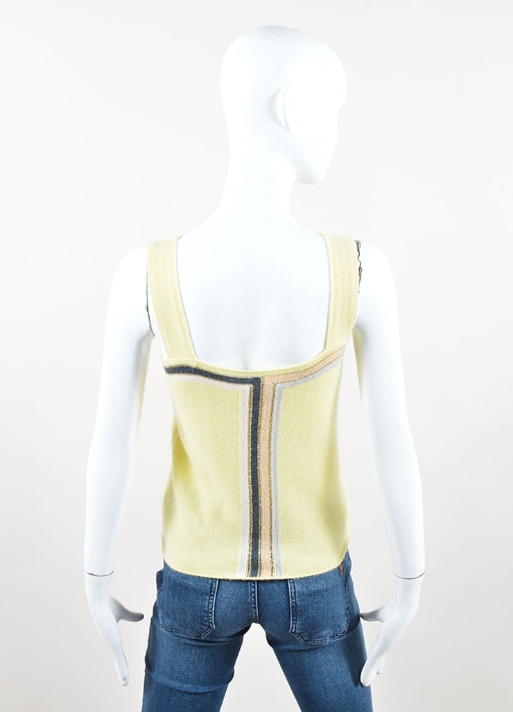 Chanel Yellow Multicolor Cashmere Striped Sleeveless Top Back